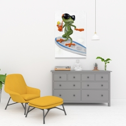 Canvas 24 x 36 - Funny frog surfing