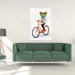 Canvas 24 x 36 - Funny frog riding a bike
