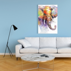 Canvas 24 x 36 - Beautiful and colorful elephant