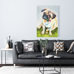 Canvas 24 x 36 - Cute pug with a rose in his mouth