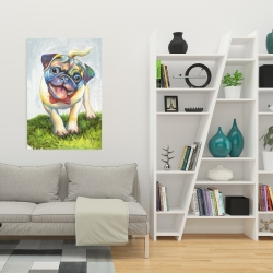 Canvas 24 x 36 - Colorful smiling pug