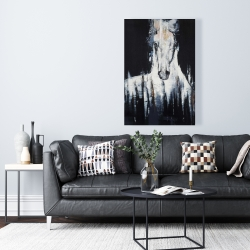 Canvas 24 x 36 - Abstract white horse on black background