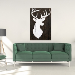 Canvas 24 x 36 - White silhouette of a deer on wood