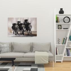 Canvas 24 x 36 - Group of running bulls