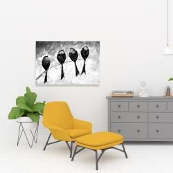 Canvas 24 x 36 - Four birds perched
