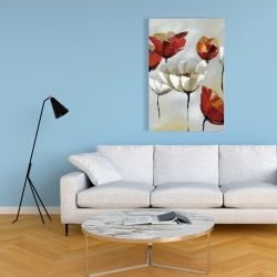 Canvas 24 x 36 - Abstract red and white flowers