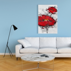Canvas 24 x 36 - Texturized red poppies