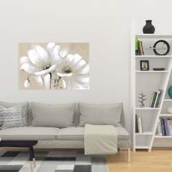 Canvas 24 x 36 - White abstract wild flowers