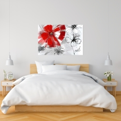 Canvas 24 x 36 - Red & gray flowers