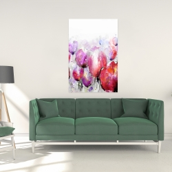 Canvas 24 x 36 - Pink tulips field