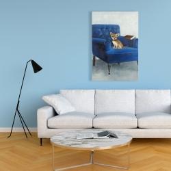 Canvas 24 x 36 - Chihuahua on a blue armchair
