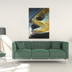 Canvas 24 x 36 - Golden trout with fly fishing flie