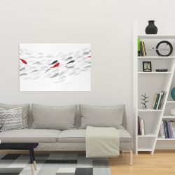 Canvas 24 x 36 - Swimming fish wave
