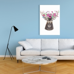 Canvas 24 x 36 - Deer head with flowers