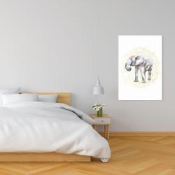 Canvas 24 x 36 - Elephant on mandalas pattern
