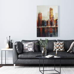 Canvas 24 x 36 - Abstract red cityscape
