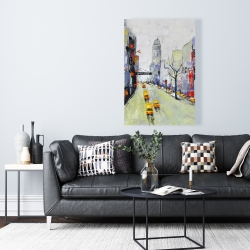 Canvas 24 x 36 - Gray street with yellow and red accents