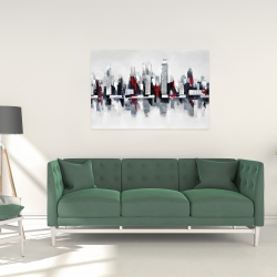 Canvas 24 x 36 - Gray and red cityscape