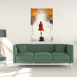 Canvas 24 x 36 - Woman with a red coat by fall