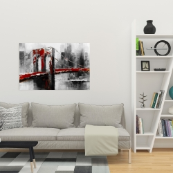 Canvas 24 x 36 - Abstract and red brooklyn bridge