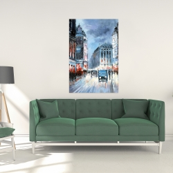 Canvas 24 x 36 - Abstract red and blue city