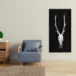 Canvas 24 x 48 - Deer skull on black background