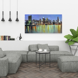 Canvas 24 x 48 - Colorful city with a bridge by night