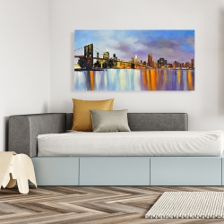 Canvas 24 x 48 - Colorful city with a bridge by day