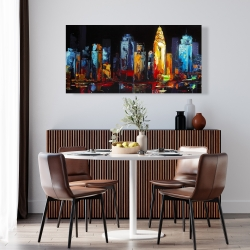 Canvas 24 x 48 - Colorful abstract cityscape on a dark background