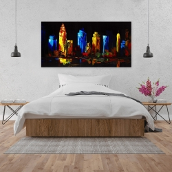 Canvas 24 x 48 - Colorful buildings on a dark background