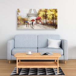 Canvas 24 x 48 - Passersby near the eiffel tower