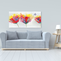Canvas 24 x 48 - Colorful flowers with a butterfly