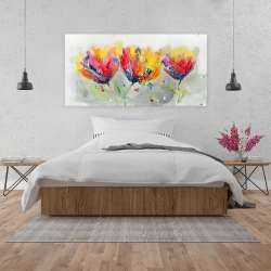 Canvas 24 x 48 - Four colored flowers on gray background