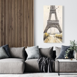 Canvas 24 x 48 - Eiffel tower with flying birds