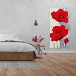 Canvas 24 x 48 - Red flowers on a gray background