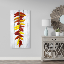 Canvas 24 x 48 - Rope of peppers with wood background