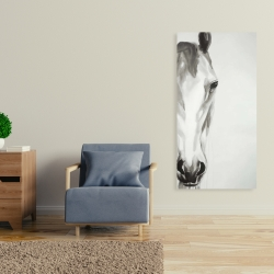 Canvas 24 x 48 - Black & white horse face