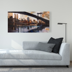 Canvas 24 x 48 - Bridge in the city at sunset