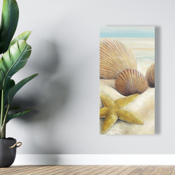 Canvas 24 x 48 - Starfish and seashells view on the beach