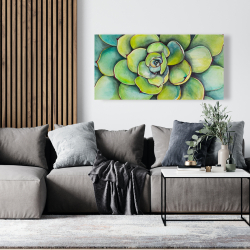Canvas 24 x 48 - Watercolor succulent plant
