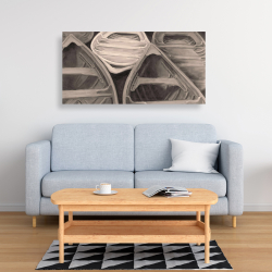 Canvas 24 x 48 - Sepia canoes