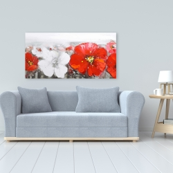 Canvas 24 x 48 - Gray field with red flowers