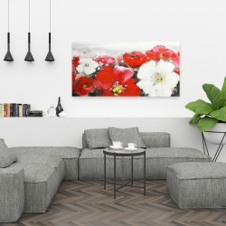 Canvas 24 x 48 - Red and white flowers field