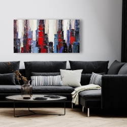 Canvas 24 x 48 - Abstract red and blue buildings