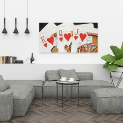 Canvas 24 x 48 - Heart royal flush closeup