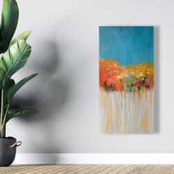 Toile 24 x 48 - Bouquet de fleurs abstraites sur fond bleu
