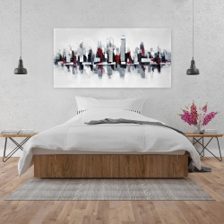 Canvas 24 x 48 - Gray and red floating cityscape