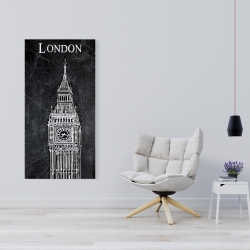 Canvas 24 x 48 - Big ben sketch with a map in background