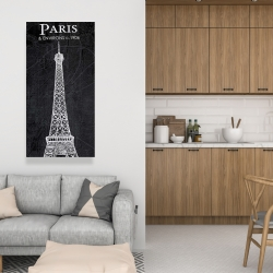 Canvas 24 x 48 - Eiffel tower sketch with a map in background