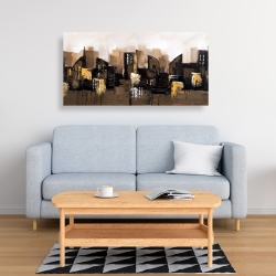 Canvas 24 x 48 - Brown abstract cityscape